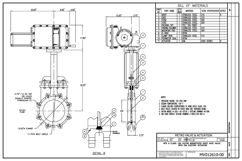 NPS 8 CLASS 150 HIlton Bonnetless Knife Gate Valve